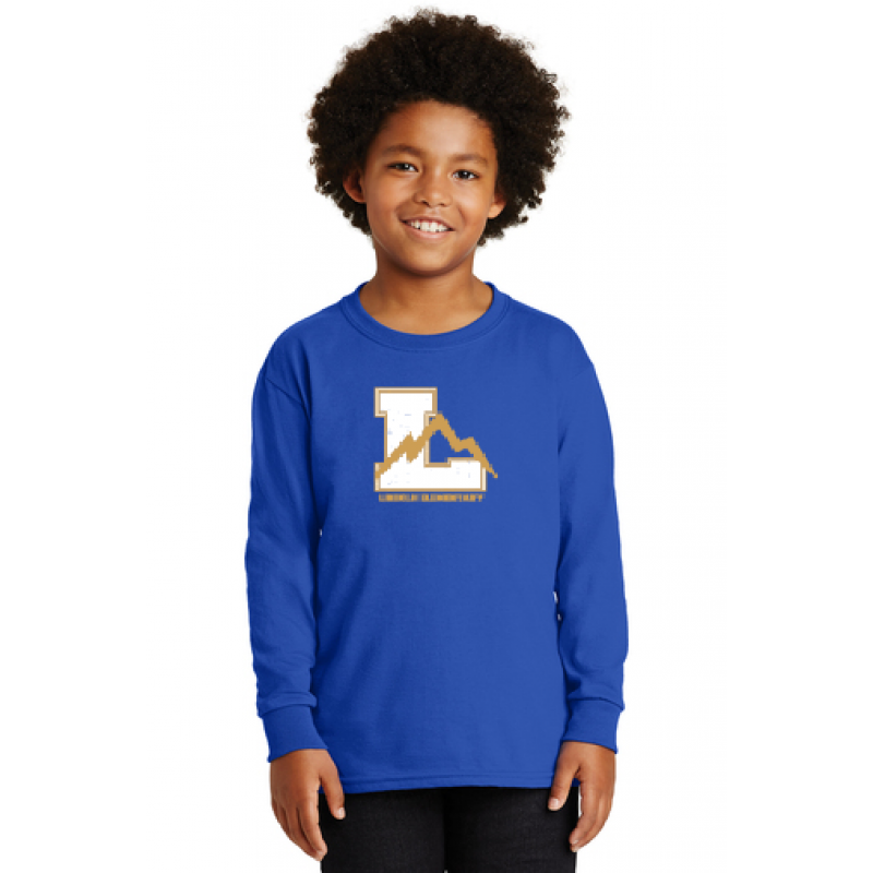 linclon Full Front Youth Long Sleeve Core Cotton Tee